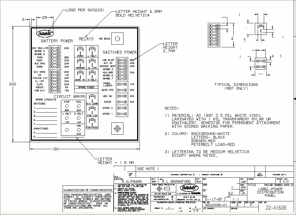 Fusepanel on 2000 kenworth w900 fuse diagram